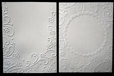 WHITE EMBOSSED 110gsm Paper x 10 -2 DESIGNS SCRAPBOOKING/CARDMAKING