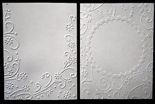 WHITE EMBOSSED 125gsm Paper x 10 -2 DESIGNS SCRAPBOOKING/CARDMAKING
