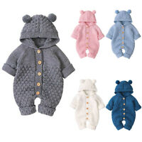 Newborn Baby Boy Girl Bear Hooded Knit Romper Jumpsuits Bodysuit Clothes Outfits