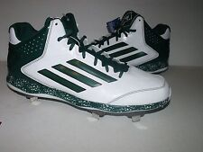 Adidas Power Alley 2 Mens Mid Metal BASEBALL Cleats (White/Green) NEW Mens Sz 16
