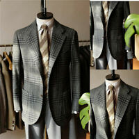Men Suits Tweed Check Coats Business Blazer Tuxedos Tailored Wool Blend Notch