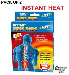 Self Adhesive Heat Pads Pack Of 2 Muscle Back Joint Pain Relief Instant 41077C