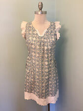 See U soon Blue Print S / M Eyelet Shift Dress Excellent Casual Anthropologie