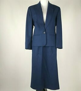 Pendleton Women Blue Virgin Wool 2PC Blazer Skirt Suit Made in USA sz 8