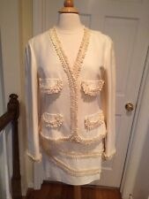 NWOT Vintage Moschino Cheap & Chic Cream Suit Embellished Trim Size 44/46/10/12