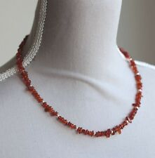 "AMBER NUGGET NECKLACE WITH 925 STERLING SILVER BEADS & CLASP 18.5"" LENGTH"