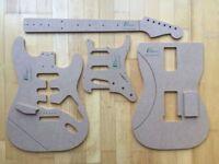 '60 Strat Schablonen für Gitarrenbau Templates f. Fender Stratocaster Reparatur