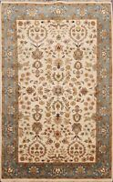 Floral Vegetable Dye Fine Agra Oriental Area Rug Hand-knotted Ivory Carpet 3'x5'