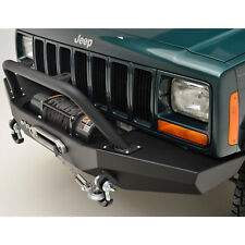 84-01 Jeep Cherokee XJ Front Bumper w/D-ring&Winch Plate Black Textured Offroad