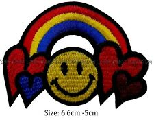 heart rainbow smiley face colour iron sew on patch  embroidered #130