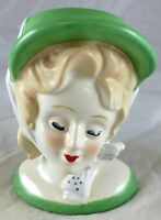 Southern Lady Headvase Sunday Best Outfit Green Hat Dress White Bow Head Vase