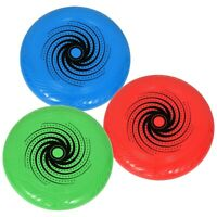 Set of Three Plastic Flying Discs Frisbee Red Blue Green 10 Inch BRAND NEW