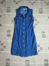 Levi's Aubrey Denim Blue Button Front Tank Dress Size Small Chambray Dark Wash