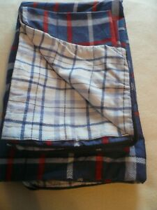 Brushed Cotton reversible Double Duvet Set Blue Red White Tartan Ex Cond
