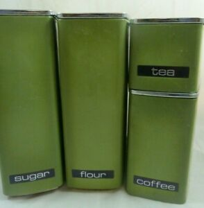 Vintage Mid Century Lincoln Beautyware Metal Kitchen Canister Set Avocado Green