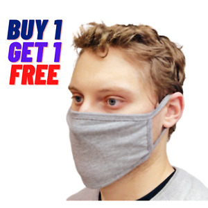 2X Face Mask Black Breathable Cotton Washable Reusable Adult Grey Buy Get1 Free