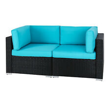 2 PCS Rattan Wicker Corner Sofa Furniture Set Outdoor Garden Lawn Backyard Couch