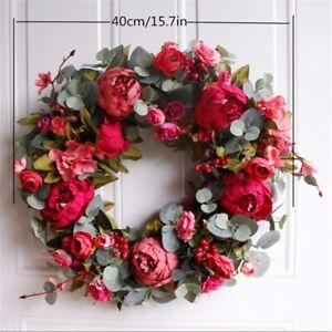 Easter Silk Flowers Wreath Rose Artificial Door Artificial Garland Decoration