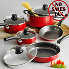 Nonstick 9-Piece Pots And Pans Cookware Set Cooking Kitchen Red NEW