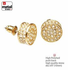 Men's 14K Gold Plated XL Flat Round Micro Pave AAA CZ Stud Earrings TE 528 G