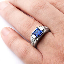 Mens Ring Fine STERLING SILVER with Blue SAPPHIRE Gemstone and 4 DIAMOND Accents