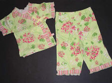 NEW Baby Nay Girls DANDELIONS Set Short Sleeve KIMONO TOP+PANTS Green/Pink 12 m