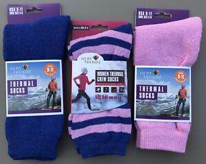 Lot of 3 Women's HEAT TRENDZ Warm Winter Thermal Socks Pinks & Blues Size 9-11