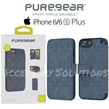 "PureGear iPhone 6S Plus (5.5"") Credit Card Express Folio Case Cover Canvas Blue"