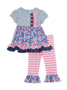 Rare Editions Pink Heather Unicorn Striped Legging Set  4 5 6 6X