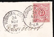 Germany Wurttemberg 1890 10pf Tübingern Stadt Neubrandenburg Backstamp Cover 8x