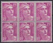 N° 724**  15Frs LILAS-ROSE TYPE MARIANNE DE GANDON EN BLOC DE 6