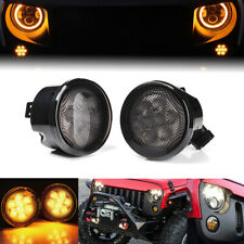 2 X Amber LED Turn Signal Lights Smoke Lens Front Grill For Jeep Wrangler JK TJ