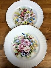 2 Vintage Royal Vale Flowers of the Season Plates Summer/Winter Signed D Wallace