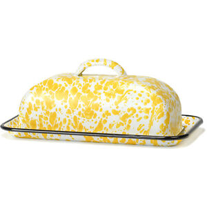 """9"""" Large Vintage Enamelware Butter Dish with Dome Lid, Yellow Speckled/Black Rim"""