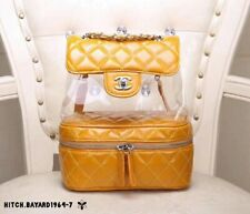 〖CHANEL〗Backpack yellow Chain Bag Rucksack Auth New Never Used PVC