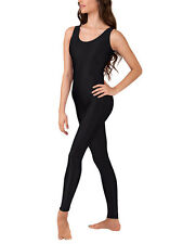 Mondor 6050 Black Girl's Size Large (12-14) Nylon Lycra Tank Unitard