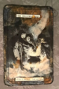 HANDMADE HALLOWEEN JUNK JOURNAL TAG/CARD MIXED MEDIA ART WITCHES CALDRON BREW