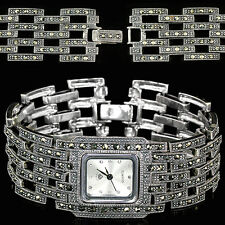 Sterling Silver 925 Antique Design Champagne Swiss Marcasite Watch 7.25 Inches