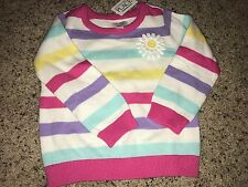 NWT The Childrens Place Toddler Girls Sweater Long Sleeve striped with daisy 2T