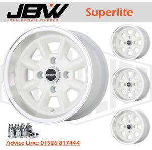 7x 13 Superlite Wheels Classic Ford Set of 4 White