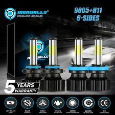 6Sides LED Headlight Bulbs Conversion Kit 9005 H11 High Low Beam Bright White 4X