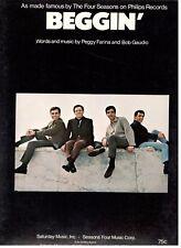 THE FOUR SEASONS-BEGGIN' PIANO/VOCAL/GUITAR SHEET MUSIC-1967-VERY RARE-BRAND NEW