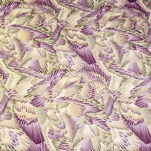 Metallic Gold, Olive Green & Purple Geometric, A Hoffman Cotton, 1/2 Yd