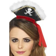 Womens Mock Pirate Hat on Headband with Marabou Red Fancy Dress Caribbean Film