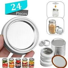 24Sets Canning Jar Lids Bands and Rings Regular Mouth 68mm for Mason Jars Sliver