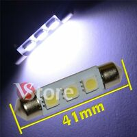2 LED Siluro 41mm 3 SMD Lampade Luci Xenon Lampadine BIANCO Interno/Targa