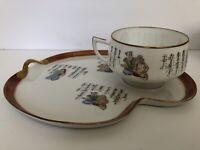 Vtg 6 Set Japanese Kutani Eizan Japan Porcelain Lucky Gods Cups Plates Poem MCM