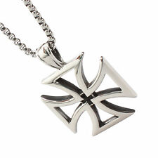New Men Quality Silver Tone Stainless Steel Iron Cross Pendant Link Necklace 24""