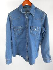 Levi Strauss Stretch Denim Blue Jean Pearl Snap Heavy Shirt Misses L (12-14)