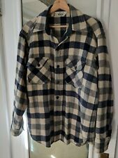 Vintage Men's Woolrich Navy Buffalo Check Wool Flannel Shirt Light Jacket Size L
